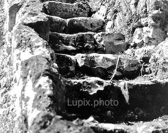 "Photography, ""Staircase, Loire"", Fine art print, photography, monochrome"