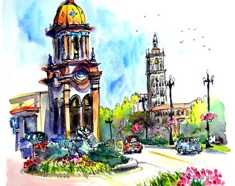 """Original Pen and Ink and watercolor painting of the Plaza at Kansas City Missouri. 9""""x12"""" View of the Neptune fountain.Created by Liz Vargas"""