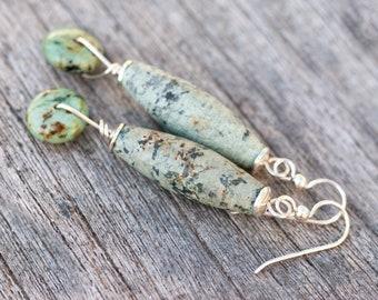 African Turquoise Earrings, Natural Stone Earrings, Long Rustic Earrings, Turquoise Green Earrings, Sterling Silver, Ocean Green Earrings