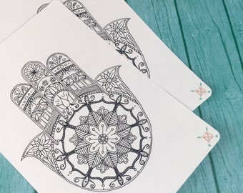 Full Page A5 Hamsa Coloring Sticker