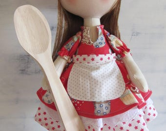 Cook doll, fabric doll, textile doll, cloth doll, tilda doll, tilda, handmade doll, personalized doll, cloth doll handmade, decor for home