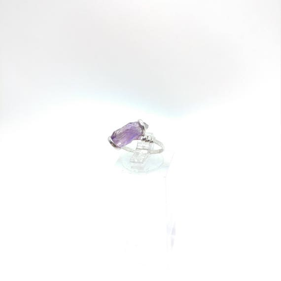 Raw Amethyst Ring | Sterling Silver Ring Sz 5.5 | Raw Stone Ring | Raw Crystal Ring | Amethyst Jewelry for Wife | Rough Purple Quartz Ring