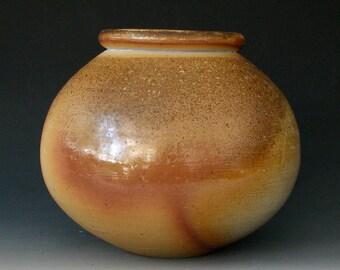 WOOD FIRED VASE #10 - Wood Fired Jar - Wood Fired Pottery - Round Vase - Flower Vase - Centerpiece - Ikebana - Stoneware Vase - Pottery Vase