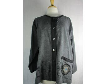 Boxy Cardigan Jacket - Gray Flannel w/ Art Noveau XL Ready to Ship by Blue Fish Red Moon Clothing