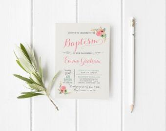 Baptism girl invitation printable, Invitation baptism floral printable, Baptism party set, Christening Invitation, Pink Baptism Invitation