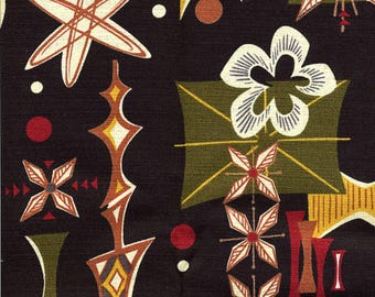 Atomic Tiki Barkcloth in Black - Fifties Retro Reproduction Vintage Fabric - Out Of Print OOP VHTF Remnant