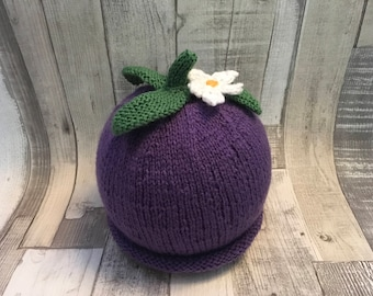 Hand knitted berry, flower hat, knitted children's hat age 6-12 months