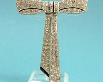 Art Deco Rhinestone Bow Brooch Black Enamel Pot Metal 1930s Jewelry