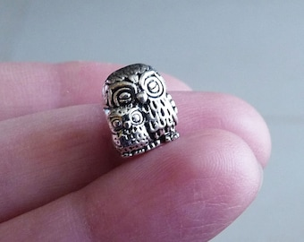 Owl Beads, Owl Charms, Owl Baby Beads, Antique Silver Tone Bird Charms, Animal Beads, Large Hole Beads, Bird Beads, Animal Charms