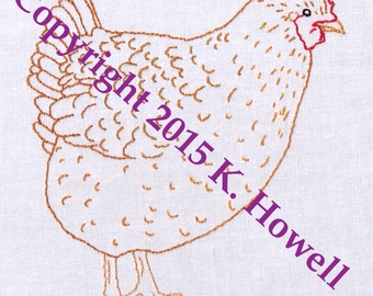 Chicken Hand Embroidery Pattern, Hen, Farm, Female, Bird, Fowl, Egg Laying, Feather, Wing, Tail, PDF