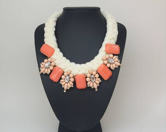 White and pink floral thread crochet bib necklace, statement necklace, chunky choker pendant necklace,Anthropologie Necklace, gift for her