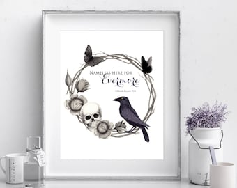 The Raven - Edgar Allan Poe - Quote Print - Halloween Print - 8x10 - Instant Download