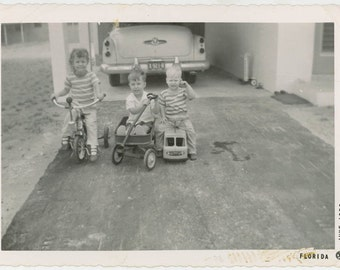 vintage photo 1956 Wanna Go For a Ride? Tricycle Wagon Car Toy Children Snapshot