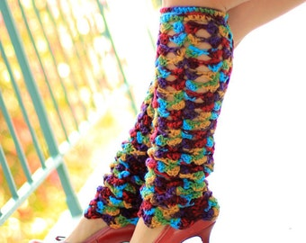 Crochet Leg Warmers in Gypsy Print - Bohemian Fashion Lacy Leggings - Colorful Legwarmers
