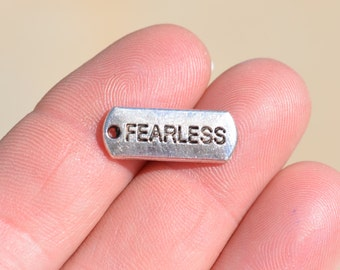 10  Fearless Silver Tone Charms SC2538