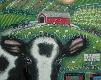 Lancaster County Pennsylvania Collage Painting Cow Barn Covered Bridge Quilts Buggy Wall Decor