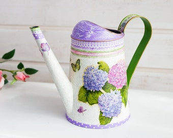 Metal watering can, Hand painted watering can, Rustic watering can, Vintage watering can, Floral water can, Garden lover gift