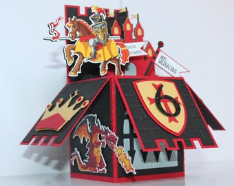Birthday boy card - pop up the Knight in armor Castle