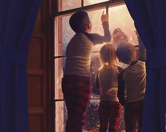 Santa over the Moon Window Digital Backdrop - Baby, Toddler, Child, Pet Winter Window Prop - Holiday Window - Christmas -Frosty Window -Snow