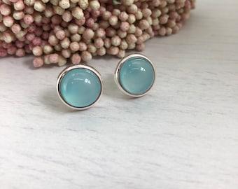 Aqua Chalcedony Stud earrings, silver stud earrings, blue stud earrings, gift for her, gift for mom, blue earrings, bff gift, dainty studs