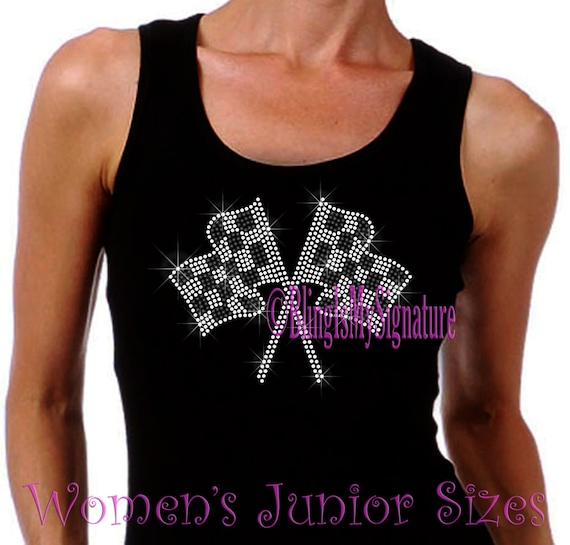 Checkered Racing Flag Iron On Rhinestone Ribbed Tank Top