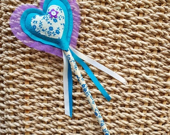 Fairy Wand - Love Heart Princess Wand in turquoise blue