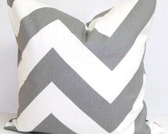 Grey and White Chevron Zig Zag Pillow cover- 18x18, 16x16, 14x14 or 12x18