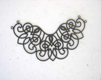 Large Filigree Necklace Component, Black Plated Brass