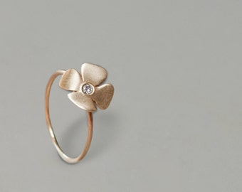 Flower gold  and diamond ring - 14k yellow gold ring, Engagement ring , diamond ring, Elegant  gold ring