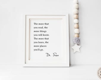 The More You Read Print — Dr Seuss Quote Printable Wall Art Black And White Print Poster Quote Prints Book Reading Quote INSTANT DOWNLOAD