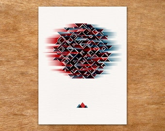 Explosions in the Sky - abstract geometric screen print