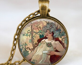 Alphonse mucha necklace, Art Nouveau necklace , beautiful lady alphonse mucha art pendant, friend family gift, art lover gift idea