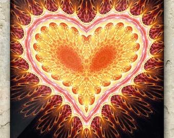 PRAJÑĀPĀRAMITĀ HṚDAYA ART – Fractal Greeting Card: sacred geometry, mandala, heart, love, metaphysics, spiritual, prayer, sutra, blessing
