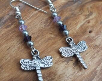 Silver and purple dragonfly earrings, purple Swarovski earrings, silver earrings, purple earrings, summer earrings