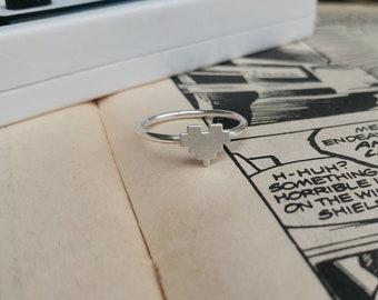 Sterling Silver 8 Bit Heart Ring - Geek, Gamer, Zelda, Pixelated, Minecraft