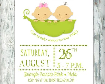 Two Peas in a Pod Baby Shower Invitation (Digital File)