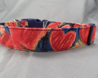 Red Hearts on Blue Valentine Dog Collar