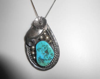 Vintage Native American Navajo Turquoise Pendant for Necklace Stamped Navajo Sterling Silver Jewelry
