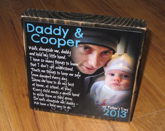 First Father's Day GIFT- Walk with me Daddy Poem Block- XL Personalized Photo Blocks- Custom made to order with poem quote or scripture