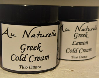 Organic Greek Cold Cream  Two Ounces    -  Normal To Dry Skin Types  -  New Rose Scented  -  Natural SkinCare  -  Natural Skin Cleanser