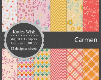 Instant Download Carmen Floral pink and yellow digital kit commercial use jpg backgrounds for invitations, scrapbooking, cardmaking, crafts