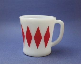 Fire King Red Diamond Mug