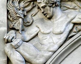 Male Nude Fine Art Print, Black and White Photography, Philadelphia Architecture Art, Architectural Detail Urban Art, Greek God Gay Art
