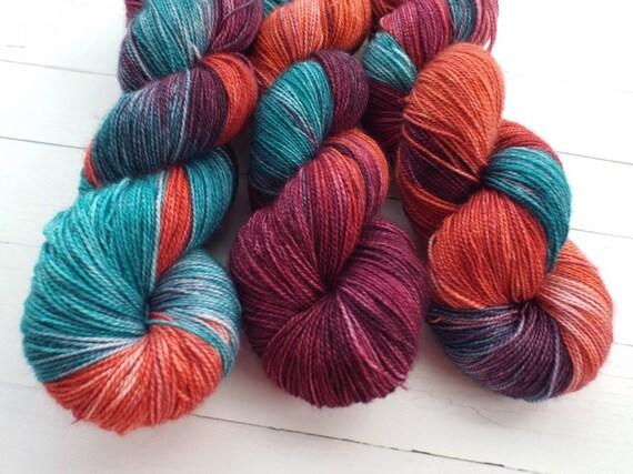 Hand Dyed Yarn Hand Dyed Sock Yarn Superwash Merino Nylon Blend 75/25 Fingering Weight Yarn 2 Ply Yarn - Blue Teal Yarn Rust Yarn Plum Yarn