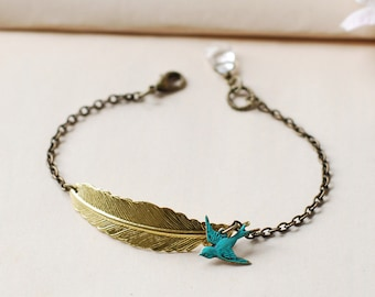 Gold Feather Bracelet Blue verdigris Patina Brass Bird Bracelet Bird Jewelry Feather Jewelry Rustic Vintage Style
