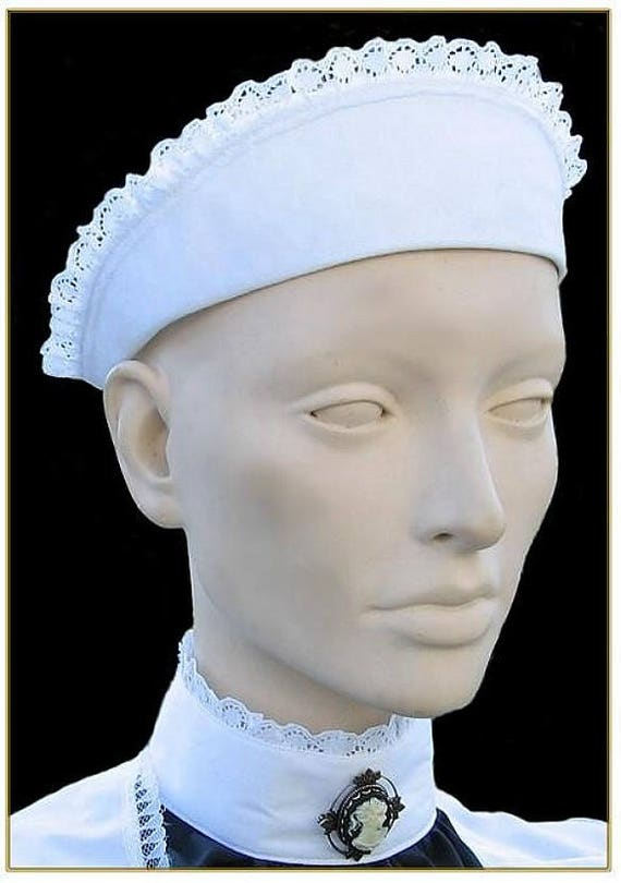 Vintage Aprons, Retro Aprons, Old Fashioned Aprons & Patterns 1890-1905 Maids Headpiece $29.00 AT vintagedancer.com