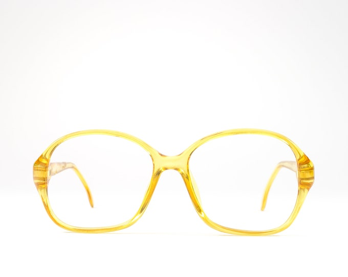80s Eyeglass Frame | Vintage 80s Glasses | Clear Yellow Eyeglasses | Petite Round Eyeglass Frame - 8134