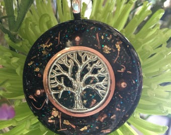 Orgone ASG Tree of Life pendant with Shungite, Copper, Selenite and Black Tourmaline, 1.5 in round
