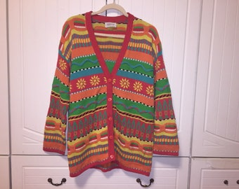 Vintage 1993 United Colors of Benetton Floral 3/4 Sleeve Cardigan X-Large