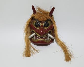 Vintage Japanese Oni Ogre Devil Mask,Japanese Kagura Namahage Mask, CecysAsianShop